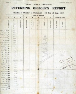 1917 - Returning Officer's Report for East Clare Election signed by Eamon de Valera (8,000-12,000)