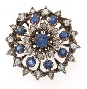 A 19th century sapphire and diamond brooch at James Adam.