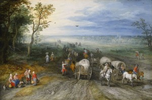 Jan Breughel the Elder - Panoramic Landscape with travelers.
