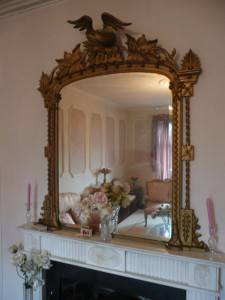 Victorian gilt overmantel mirror (400-600)