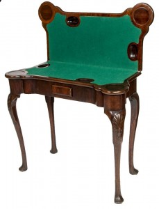 A GEORGE II PERIOD MAHOGANY CARD TABLE,(2,000-3,000)