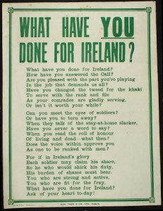 A First World War recruitment poster at Whyte's in Dublin next Saturday.