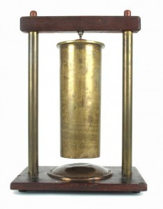 The gong fashioned from an artillery case and stamped General Blackader.