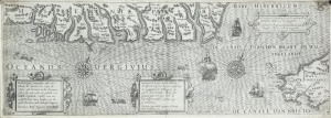 A chart of the south coast of Ireland (1601) by Lucas Janszoon Waghenaer (2,000-4,000).
