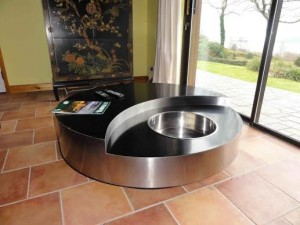 A Willy Rizzo style circular revolving cocktail table.