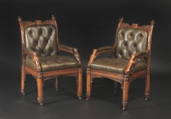 Hyde Park Antiques will display this pair of Irish c1830 leather and elm armchairs