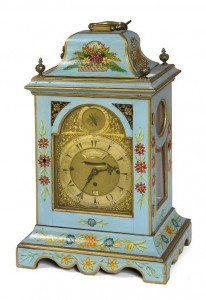 An 18th century English bracket clock with Arabic numerals.
