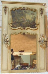 A c1900 French over mantle mirror with electric lights (400-600).