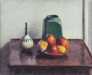 Roderic O'Conor (1860 - 1940) Still Life Study with Fruit and Pottery on a Mahogany Table