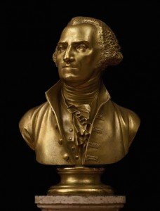 The gilt bronze lifetime bust of George Washington.