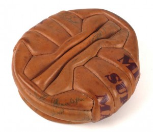The football signed by the Manchester United team in 1957.