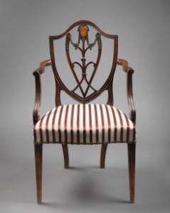 A C1790 MAHOANY AND ASH ARMCHAIR AT BERNARD AND S. DEAN LEVY