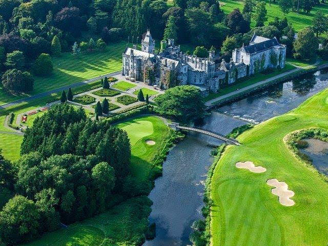 An aerial view of glorious Adare Manor.