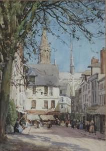 William Tatton Winter RBA 1855 - 1928 A STREET CAUDEBEC-EN-CAUX, NORMANDY Watercolour (600-800).