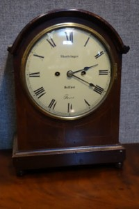 A mid 19th century bracket clock by Shortsinger of Belfast (1,500-2,000).