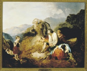 Daniel MacDonald - An Irish Peasant Family discovering the potato blight, 1847.
