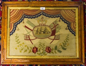 Victorian needlework tapestry in maple frame.