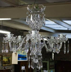 A five branch Waterford Crystal chandelier.