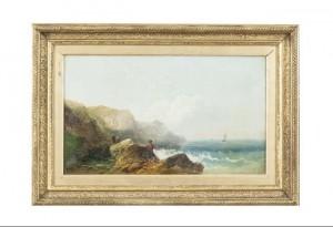JOSEPH HORLOR (1809-1887) Boy fishing on a rocky coast, boats offshore (500-700)