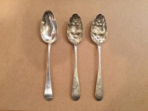 Cork silver spoons by Carden Terry.