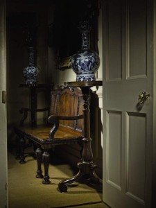 Early George III mahogany hall bench, c1760, attributed to William an John Linnell.