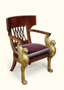 A consulat armchair c1796-1803 similar to the one in the Chateau de Malmaison where Napolean lived with Josephine.