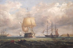George Mounsey Wheatley Atkinson - The Royal Yacht Squadron escorting Queen Victoria to Cork Harbour, 1849 sold for 28,000 at hammer.