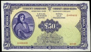 The Irish 1928 £50 note.