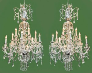 A pair of 12 branch crystal chandeliers (5,000-6,000)