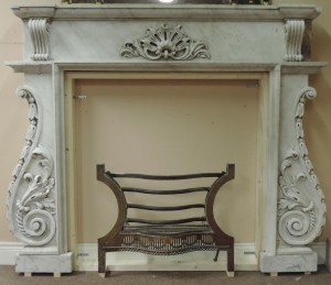 The fireplace from Wolfe Tone's house in Dublin inset with the grate from Elizabeth Bowen's home in Cork.