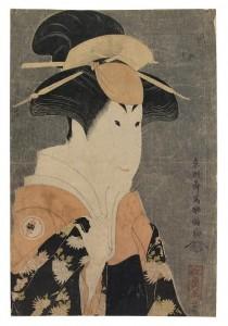 oshusai Sharaku (active circa 1794-1795)  The actor Segawa Tomisaburo II as Yadorigi, the wife of Ogishi Kurando, with dark grey mica ground Oban tate-e: (50,000-70,000) © CHRISTIE'S IMAGES LIMITED 2016