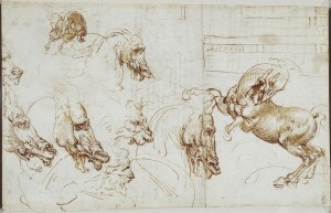 Leonardo da Vinci (1452–1519) Expressions of fury in horses, lions and a man Pen and ink Royal Collection Trust / © Her Majesty Queen Elizabeth II 2016