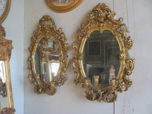 Pair of Irish Georgian mirrors and sconces (1,000-1,500).