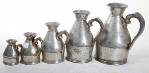 A set of five Irish pewter hay stack measures by Austen and Son, North Main St., Cork (400-600).