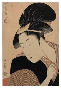 Kitagawa Utamaro (1753 ? -1806) Deeply Hidden Love (Fukaku shinobu koi), from the series Anthology of Poems: The Love Section (Kasen koi no bu), with pink mica ground Oban tate-e (80,000-100,000). © CHRISTIE'S IMAGES LIMITED 2016