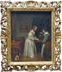 One of a pair of gilt framed 19th century oils