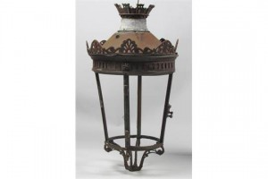 A Victorian brass street lantern from O'Connell St. with a bullet hole (300-500)
