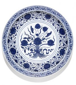 The large blue and white lotus bouquet dish.