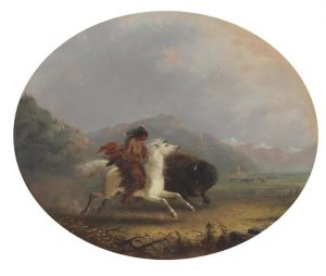 Alfred Jacob Miller (1810-1874) Pawnee Running a Buffalo courtesy Christie's Images Ltd., 2016