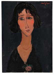 Amedeo Modigliani (1884-1920) Jeune femme à la rose (Margherita) Courtesy Christie's Images Ltd., 2016. ($12-18 million)
