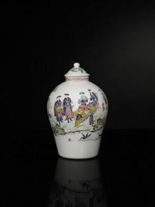 An English opaque-white glass vase and a cover, circa 1760 (£7,000-10,000)