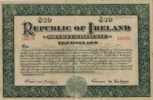 A $10 REPUBLICAN BOND CERTIFICATE, ISSUED JANUARY 21ST 1920 BY DE VALERA, President of the Elected Government of the Republic of Ireland, to Lucille Gallagher, No. 149790 (200-400)
