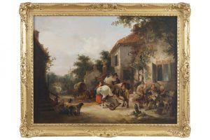 William Shayer (1787-1879) - A bustling town (6,000-9,000)