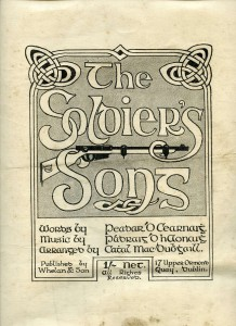"KEARNEY (PEADAR), THE SOLDIER'S SONG, FIRST EDITION WITH MUSIC Four printed pages, in two parts, 31 x 24cm approx.. Written in 1909-1910 by Peadar Kearney, music by Paddy Heaney and arrangement by Cathal MacDubhgall. Later to become ""Amhrán na bhFiann"" (1,500-2,000)"