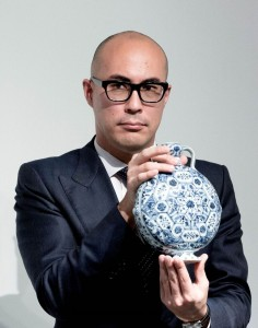 Nicholas Chow, deputy chairman of Sotheby's Asia with the Yongle Moonflask.