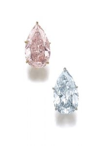 These diamond earrings set an online record price of US$6 million at Sotheby's.