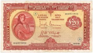 A War Code Irish £20 note from 1944 sold for