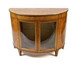 SATINWOOD AND MARQUETRY INLAID SEMI-ELLIPTICAL COMMODE, BY JAMES HICKS OF DUBLIN (3,000-5,000)