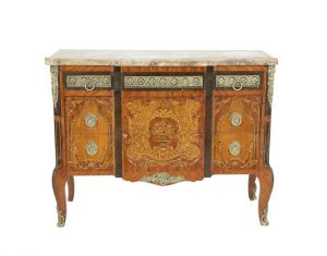 A FRENCH LOUIS QUINZE STYLE KINGWOOD MARQUETRY BREAKFRONT SIDE CABINET (2,000-3,000)
