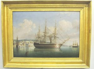 GEORGE MOUNSEY WHEATLEY ATKINSON 'HMS Conqueror off Queenstown, Cobh'